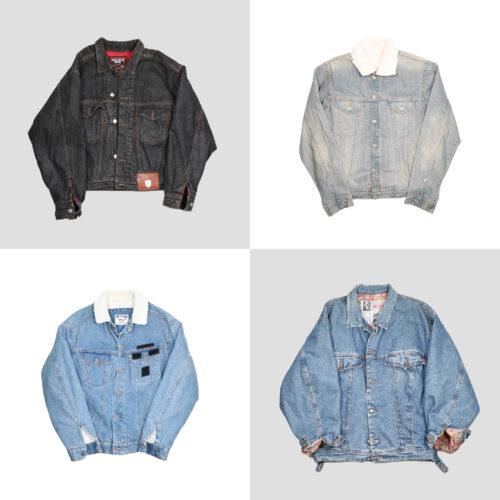Giubbotti vintage di jeans con lana uomo